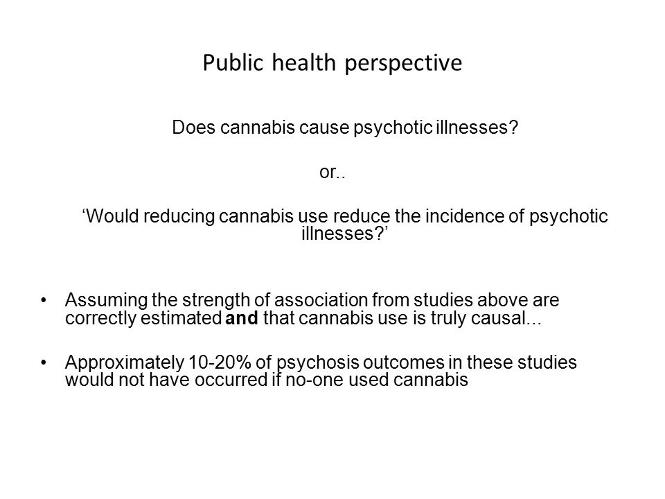 Public health perspective Does cannabis cause psychotic illnesses.