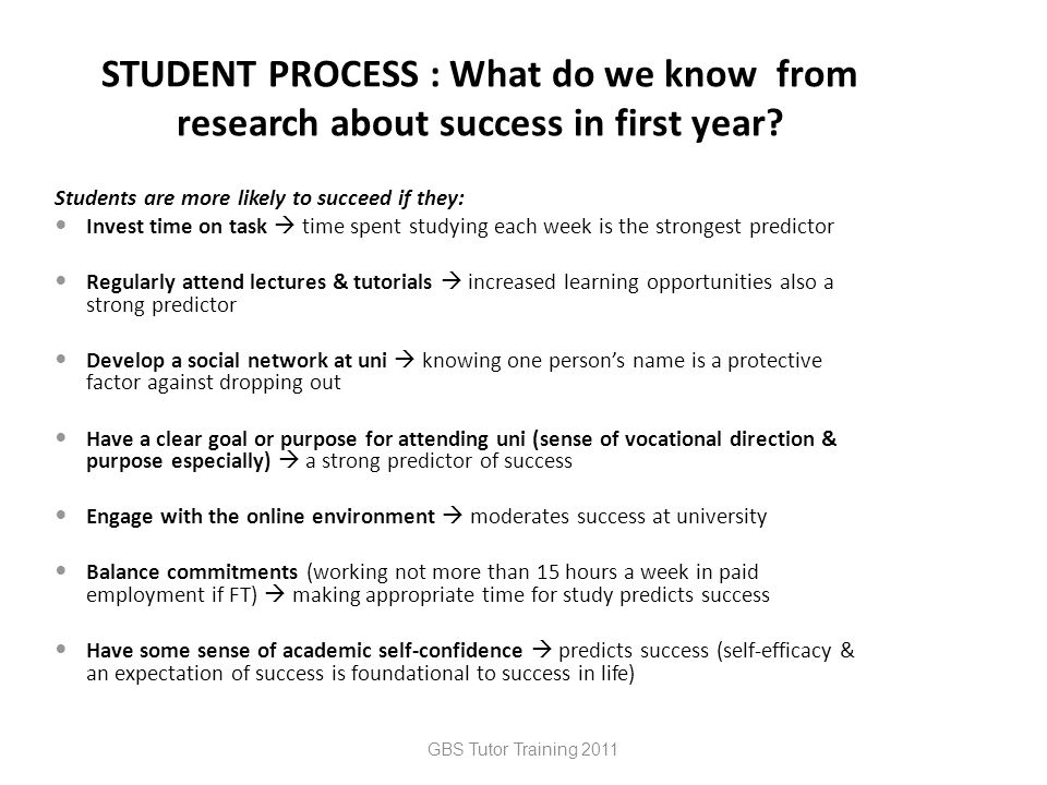 GBS Tutor Training 2011 STUDENT PROCESS : What do we know from research about success in first year.