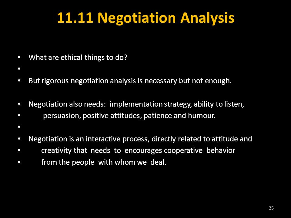 11.11 Negotiation Analysis What are ethical things to do.