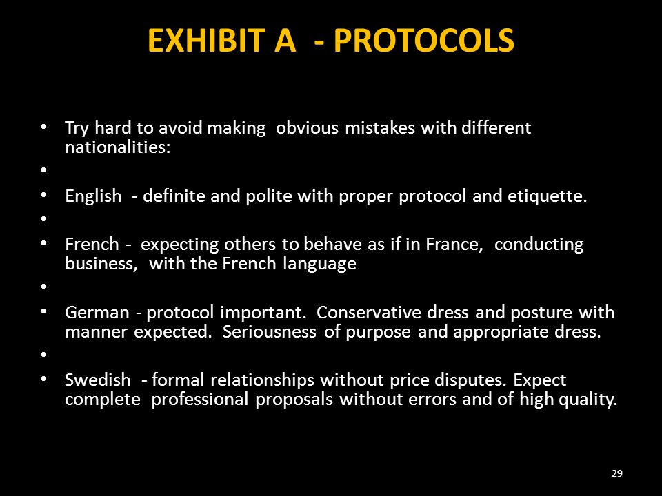 EXHIBIT A - PROTOCOLS Try hard to avoid making obvious mistakes with different nationalities: English - definite and polite with proper protocol and etiquette.