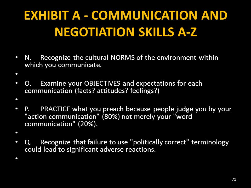 EXHIBIT A - COMMUNICATION AND NEGOTIATION SKILLS A-Z N.Recognize the cultural NORMS of the environment within which you communicate.