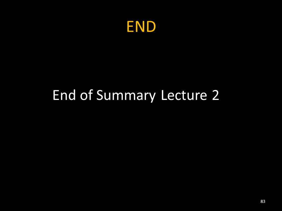 END End of Summary Lecture 2 83
