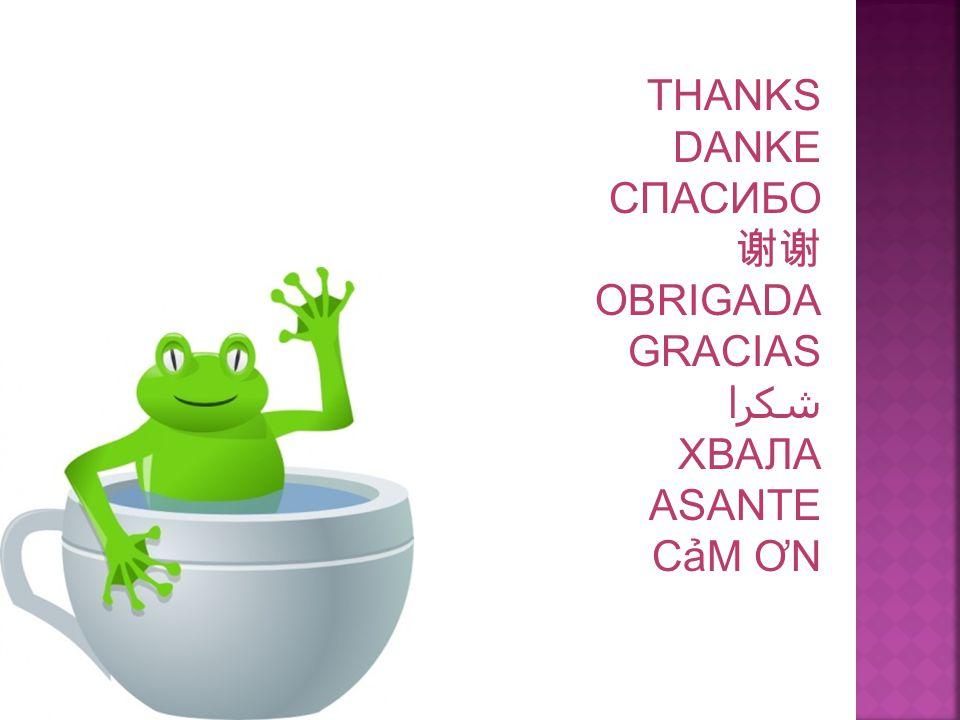 THANKS DANKE СПАСИБО 谢谢 OBRIGADA GRACIAS شكرا ХВАЛА ASANTE CảM ƠN