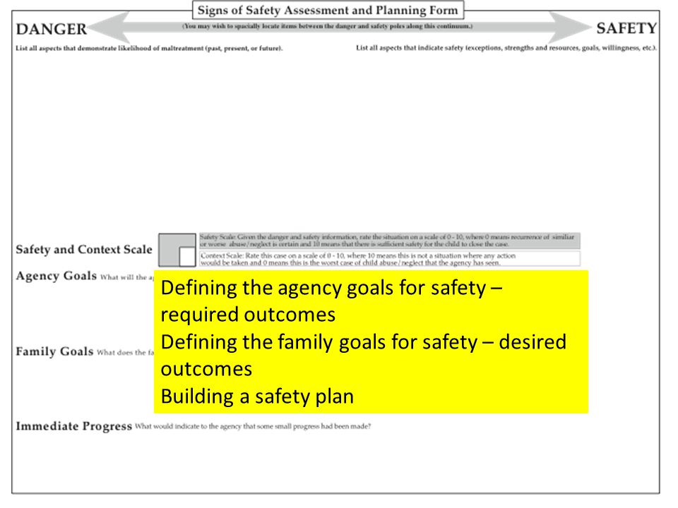 Defining the agency goals for safety – required outcomes Defining the family goals for safety – desired outcomes Building a safety plan