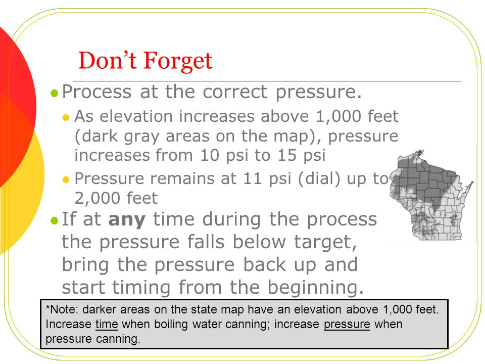 Don't Forget Process at the correct pressure.
