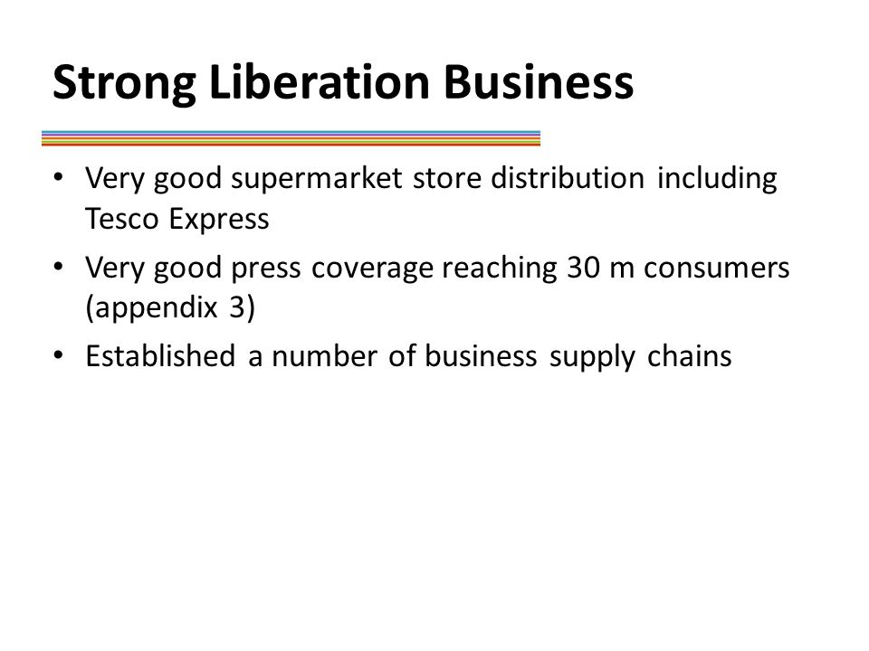Strong Liberation Business Very good supermarket store distribution including Tesco Express Very good press coverage reaching 30 m consumers (appendix 3) Established a number of business supply chains