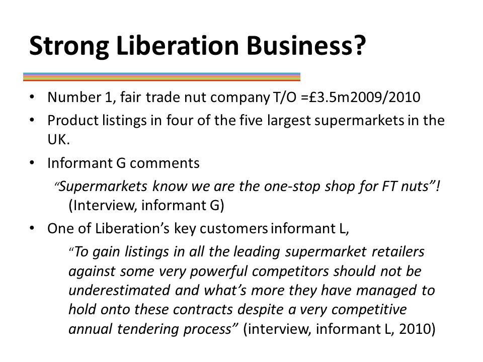 Recommendations Test assumptions in business plan Also use the Liberation story with other business opportunities with larger players Investigate how collective ownership can be used to raise capital Further education of supermarkets in the nut cycle