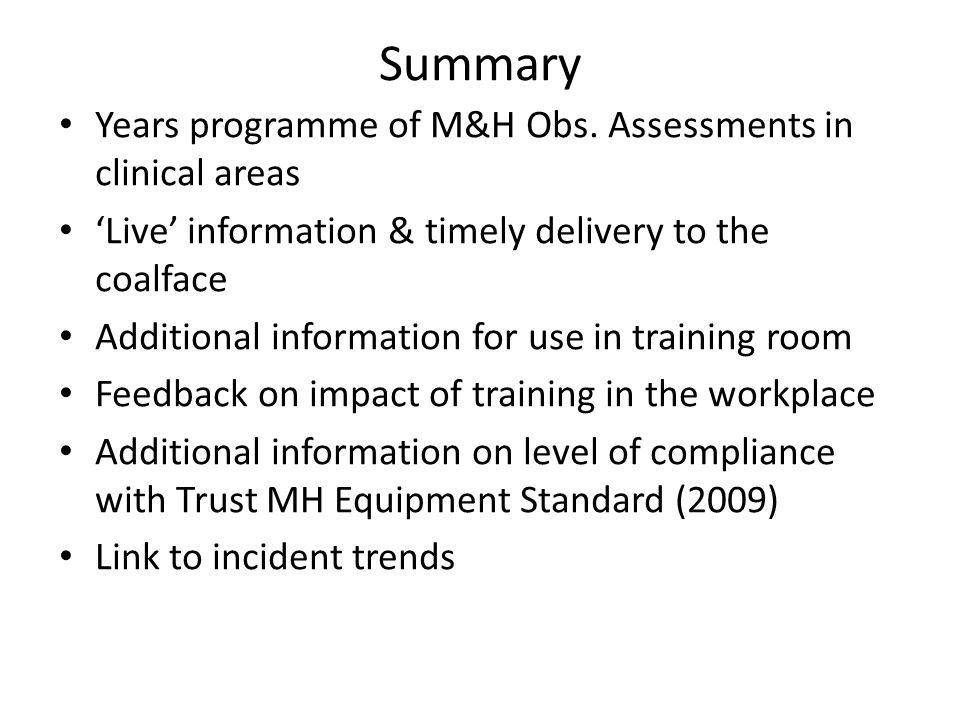 Summary Years programme of M&H Obs.