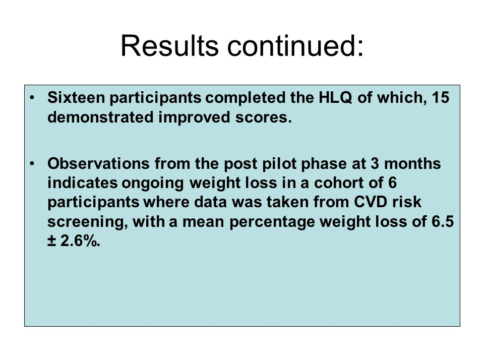Results continued: Sixteen participants completed the HLQ of which, 15 demonstrated improved scores.