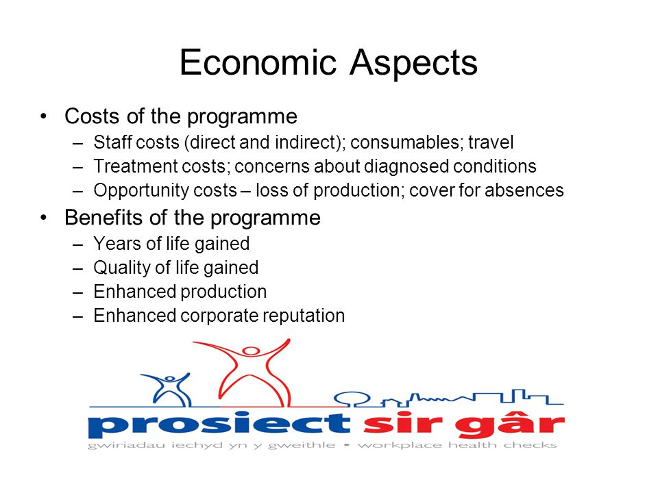 Economic Aspects Costs of the programme –Staff costs (direct and indirect); consumables; travel –Treatment costs; concerns about diagnosed conditions –Opportunity costs – loss of production; cover for absences Benefits of the programme –Years of life gained –Quality of life gained –Enhanced production –Enhanced corporate reputation