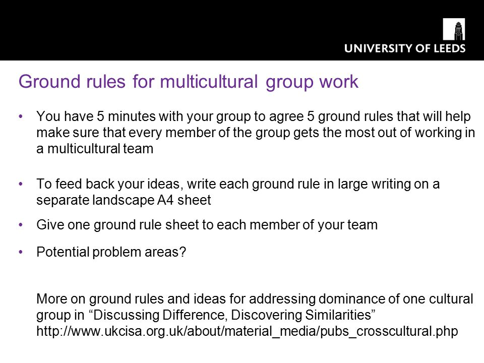 Ground rules for multicultural group work You have 5 minutes with your group to agree 5 ground rules that will help make sure that every member of the group gets the most out of working in a multicultural team To feed back your ideas, write each ground rule in large writing on a separate landscape A4 sheet Give one ground rule sheet to each member of your team Potential problem areas.