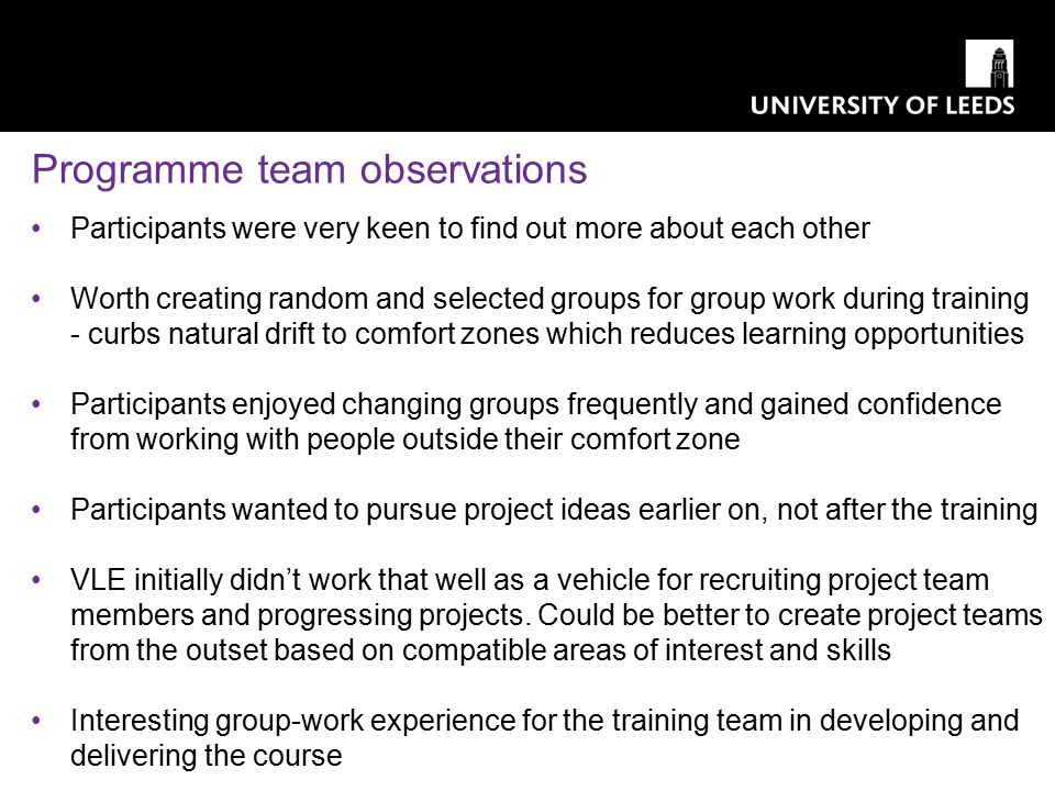 Programme team observations Participants were very keen to find out more about each other Worth creating random and selected groups for group work dur