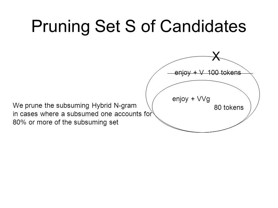Pruning Set S of Candidates enjoy + V enjoy + VVg 100 tokens 80 tokens We prune the subsuming Hybrid N-gram in cases where a subsumed one accounts for
