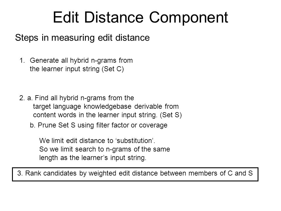 Edit Distance Component Steps in measuring edit distance 1.Generate all hybrid n-grams from the learner input string (Set C) 2.