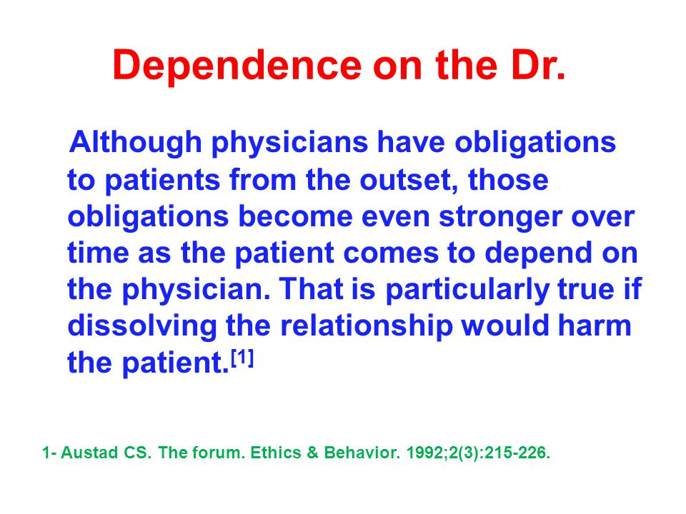Dr.withdrawal In ethics and the law, a physician may not abandon a patient [1].