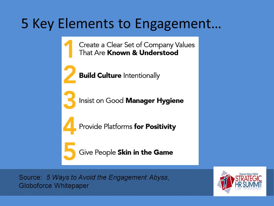 5 Key Elements to Engagement… Source: 5 Ways to Avoid the Engagement Abyss, Globoforce Whitepaper