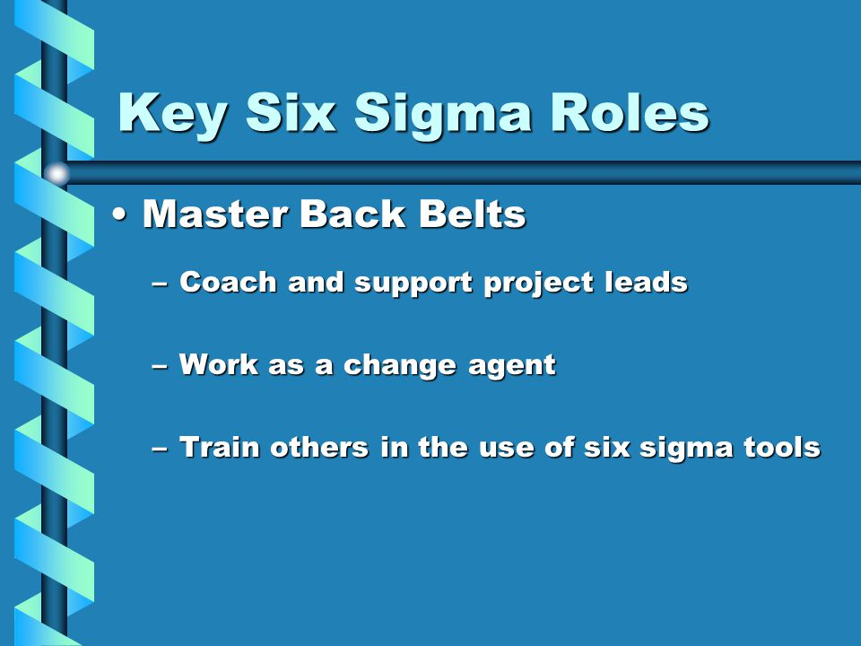 Key Six Sigma Roles Master Back BeltsMaster Back Belts –Coach and support project leads –Work as a change agent –Train others in the use of six sigma