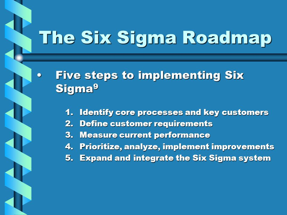 The Six Sigma Roadmap Five steps to implementing Six Sigma 9Five steps to implementing Six Sigma 9 1.Identify core processes and key customers 2.Defin