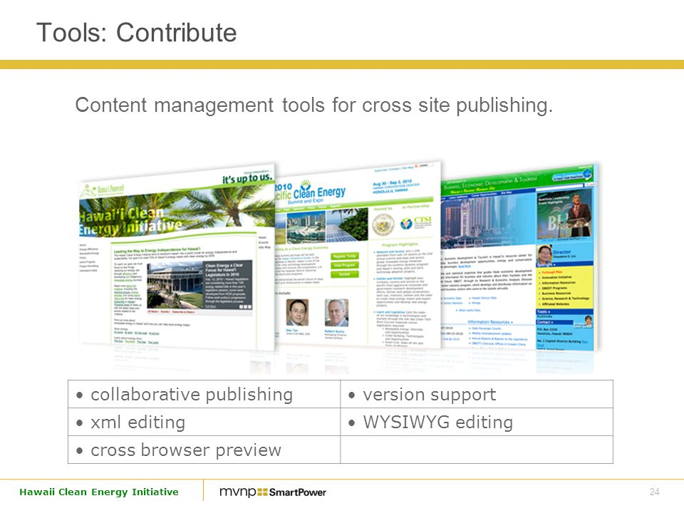 24 Hawaii Clean Energy Initiative Content management tools for cross site publishing.