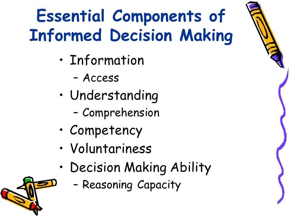 Essential Components of Informed Decision Making Information –Access Understanding –Comprehension Competency Voluntariness Decision Making Ability –Re