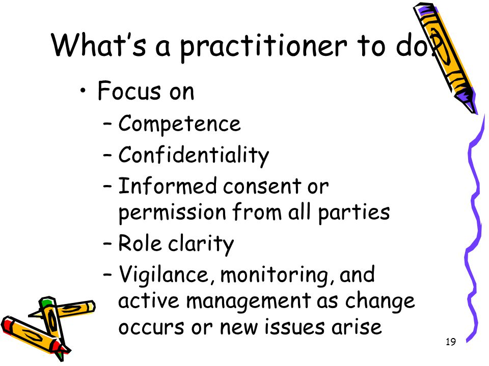 What's a practitioner to do? Focus on –Competence –Confidentiality –Informed consent or permission from all parties –Role clarity –Vigilance, monitori