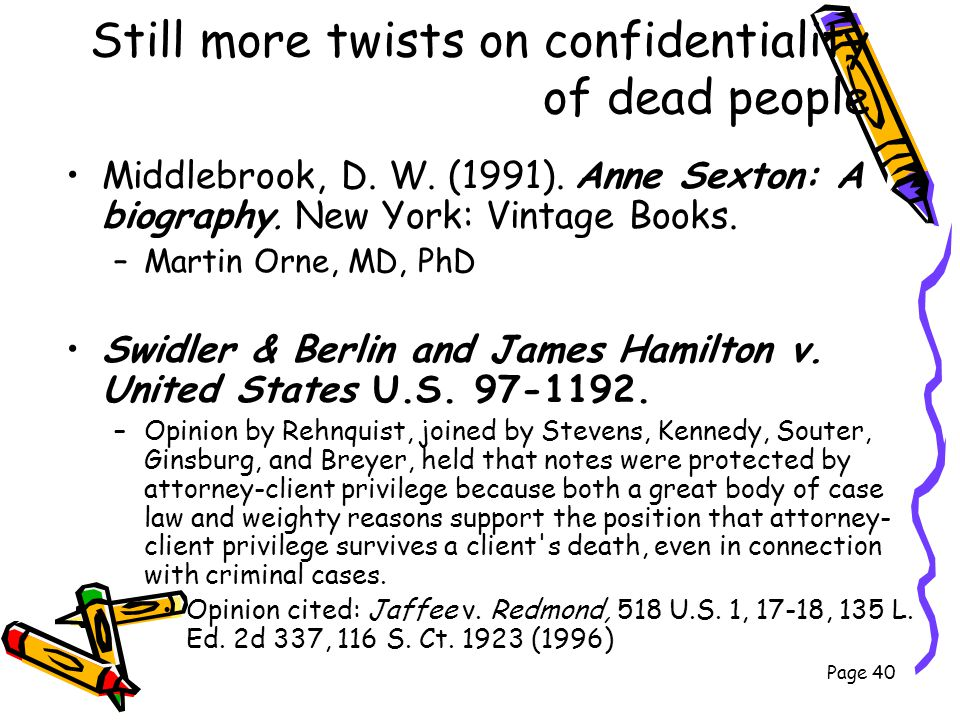 Still more twists on confidentiality of dead people Middlebrook, D. W. (1991). Anne Sexton: A biography. New York: Vintage Books. –Martin Orne, MD, Ph