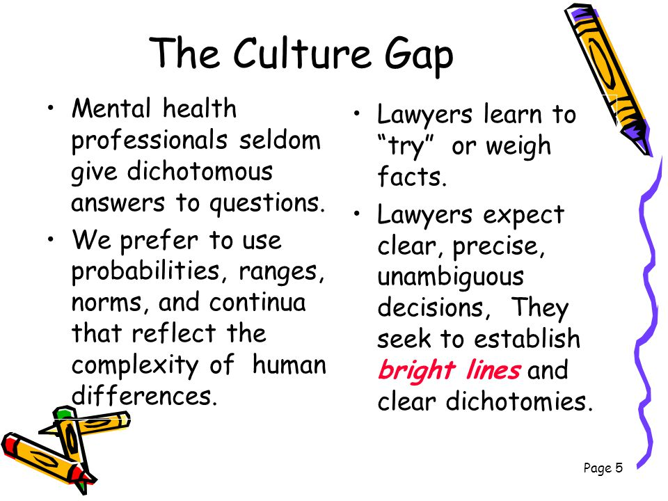 The Culture Gap Mental health professionals seldom give dichotomous answers to questions.