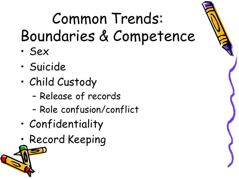 Common Trends: Boundaries & Competence Sex Suicide Child Custody –Release of records –Role confusion/conflict Confidentiality Record Keeping