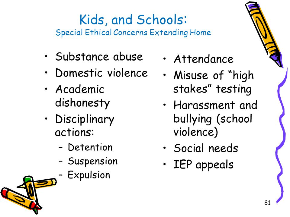 81 Kids, and Schools : Special Ethical Concerns Extending Home Substance abuse Domestic violence Academic dishonesty Disciplinary actions: –Detention –Suspension –Expulsion Attendance Misuse of high stakes testing Harassment and bullying (school violence) Social needs IEP appeals