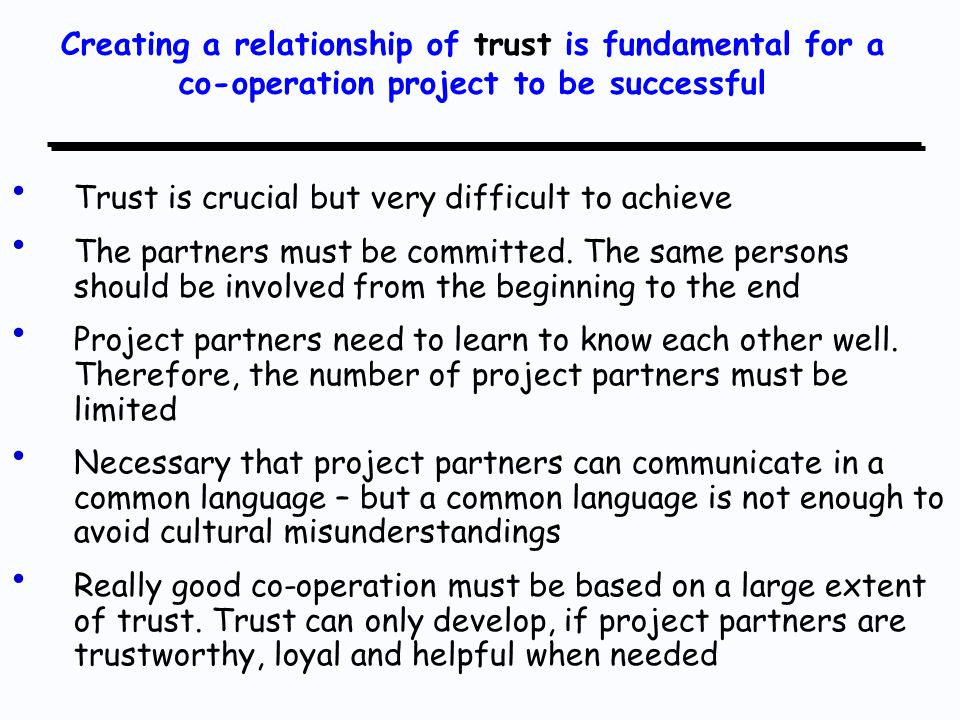 Trust is crucial but very difficult to achieve The partners must be committed.