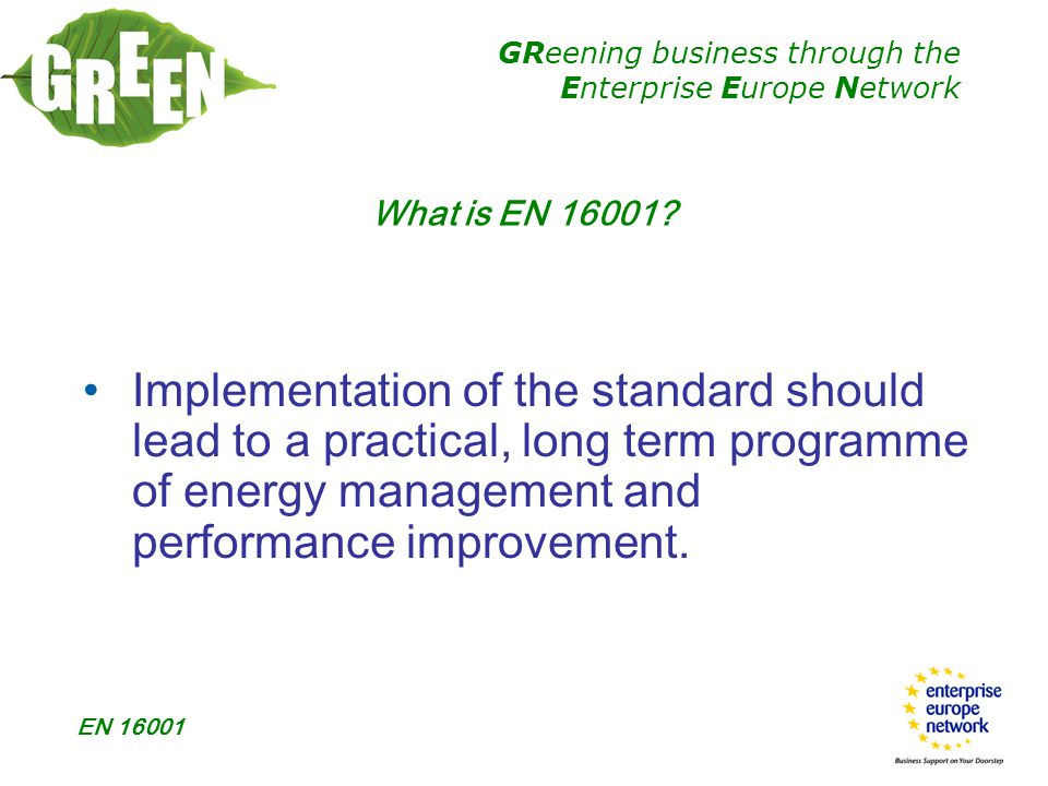 GReening business through the Enterprise Europe Network EN 16001  3.6 REVIEW  Records shall be maintained  Inputs to the management review  Outputs from the management review Guidance Points