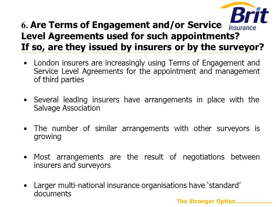 6.Are Terms of Engagement and/or Service Level Agreements used for such appointments.