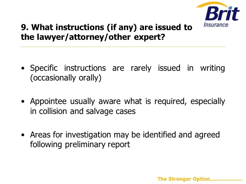 9.What instructions (if any) are issued to the lawyer/attorney/other expert.
