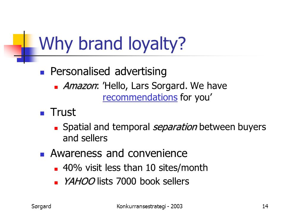 SørgardKonkurransestrategi - 200314 Why brand loyalty? Personalised advertising Amazon Amazon: 'Hello, Lars Sorgard. We have recommendations for you'