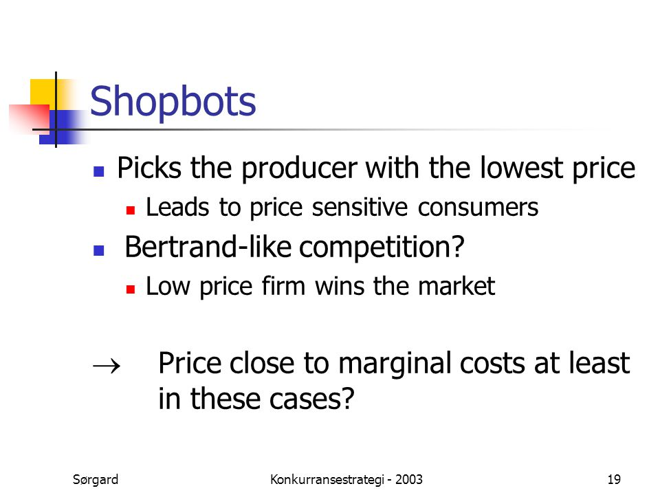 SørgardKonkurransestrategi - 200319 Shopbots Picks the producer with the lowest price Leads to price sensitive consumers  Bertrand-like competition?