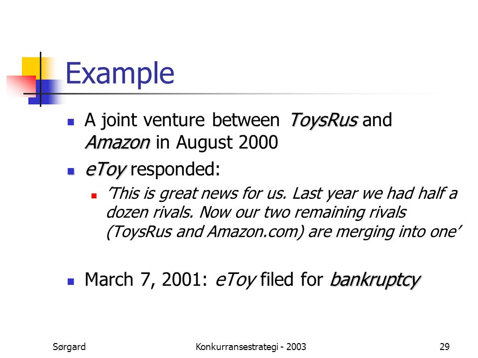SørgardKonkurransestrategi - 200329 Example ToysRus Amazon A joint venture between ToysRus and Amazon in August 2000 eToy eToy responded: 'This is great news for us.