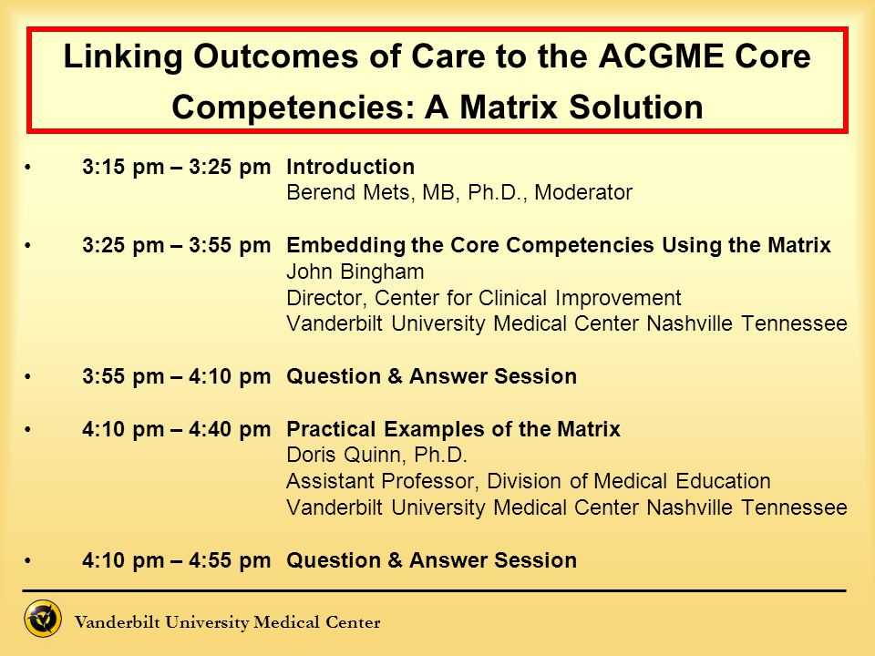 Vanderbilt University Medical Center Linking Outcomes of Care to the ACGME Core Competencies: A Matrix Solution 3:15 pm – 3:25 pmIntroduction Berend M