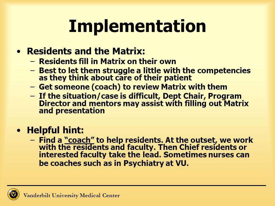 Vanderbilt University Medical Center Implementation Residents and the Matrix: –Residents fill in Matrix on their own –Best to let them struggle a litt
