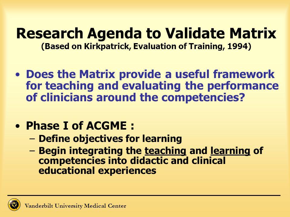 Vanderbilt University Medical Center Research Agenda to Validate Matrix (Based on Kirkpatrick, Evaluation of Training, 1994) Does the Matrix provide a