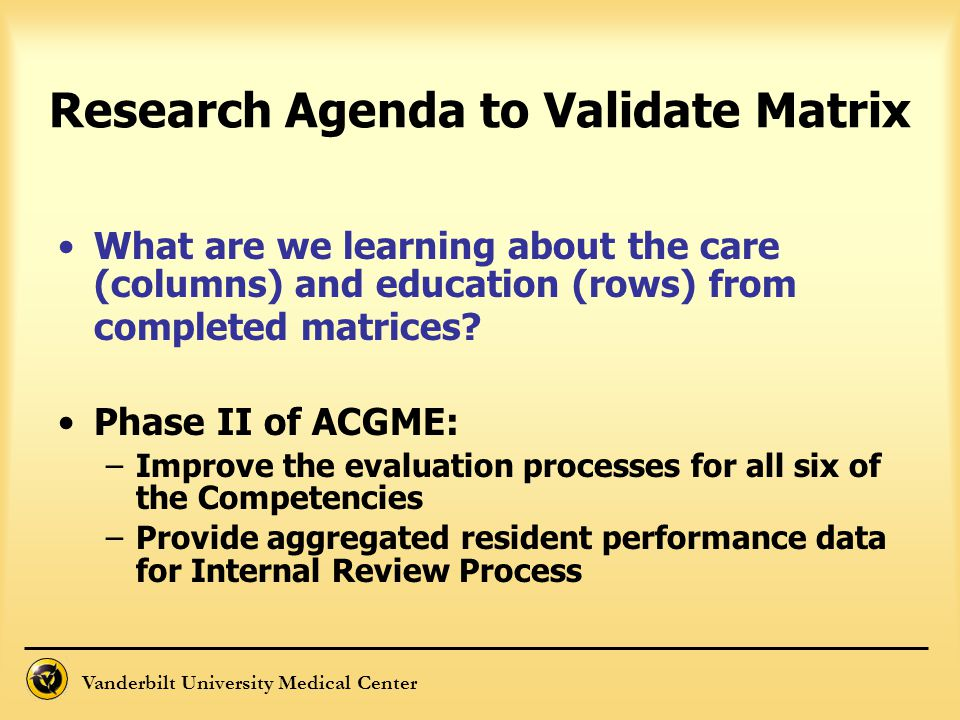Vanderbilt University Medical Center Research Agenda to Validate Matrix What are we learning about the care (columns) and education (rows) from comple