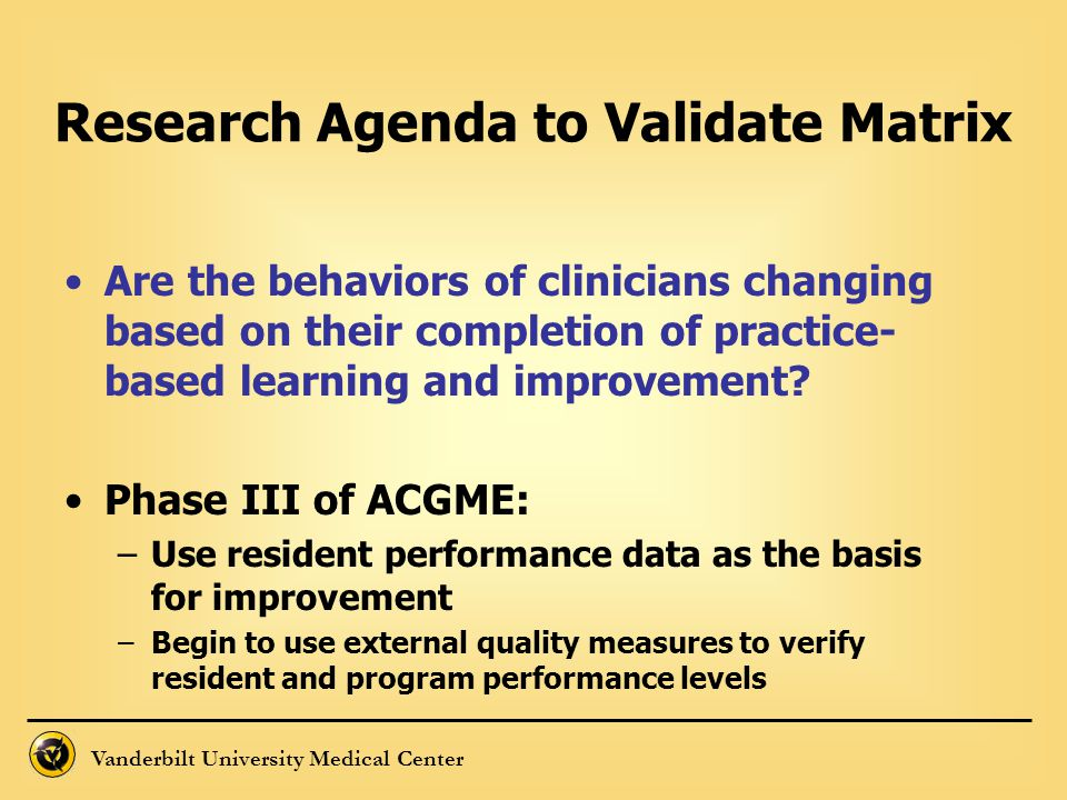 Vanderbilt University Medical Center Are the behaviors of clinicians changing based on their completion of practice- based learning and improvement? P