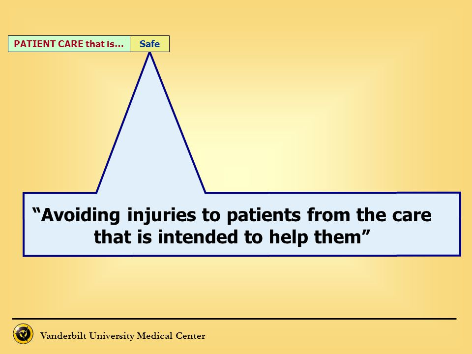 """""""Avoiding injuries to patients from the care that is intended to help them"""" PATIENT CARE that is…Safe"""