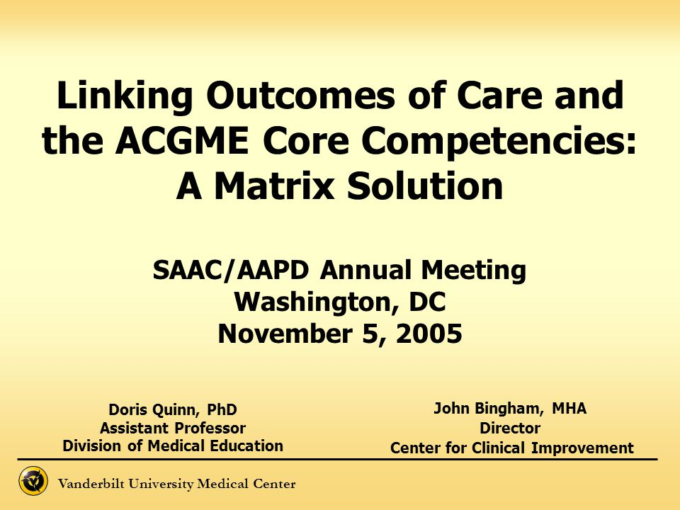 Vanderbilt University Medical Center Linking Outcomes of Care and the ACGME Core Competencies: A Matrix Solution John Bingham, MHA Director Center for