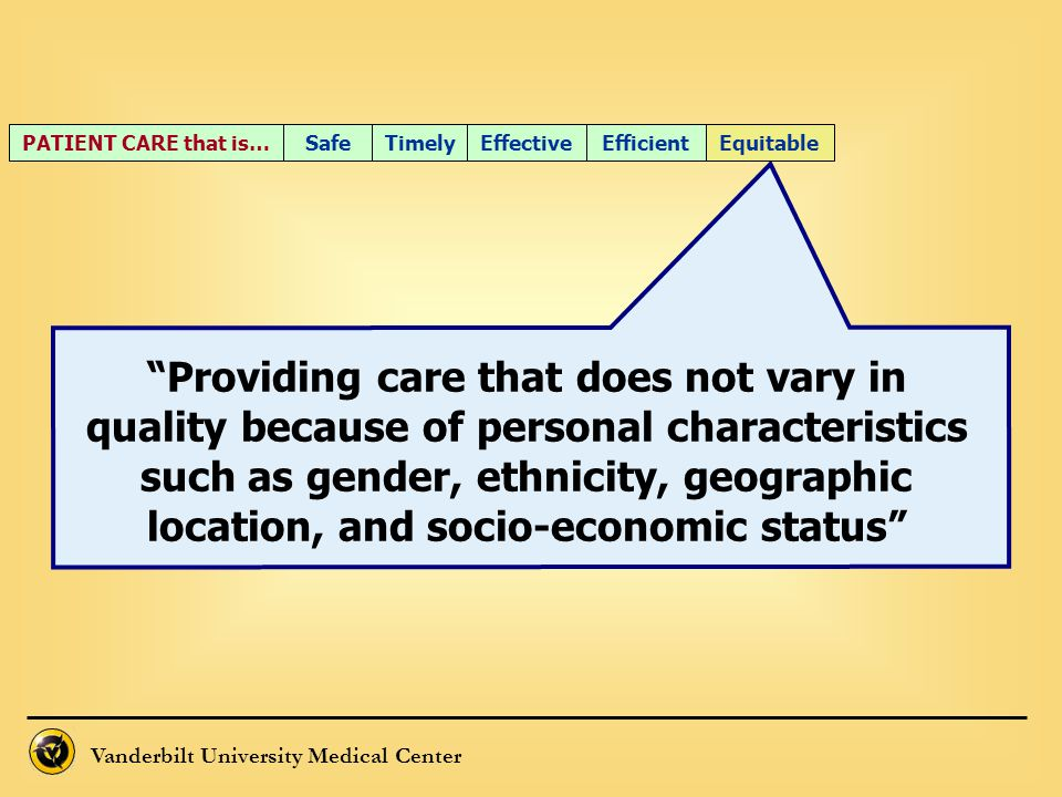 """Vanderbilt University Medical Center """"Providing care that does not vary in quality because of personal characteristics such as gender, ethnicity, geog"""
