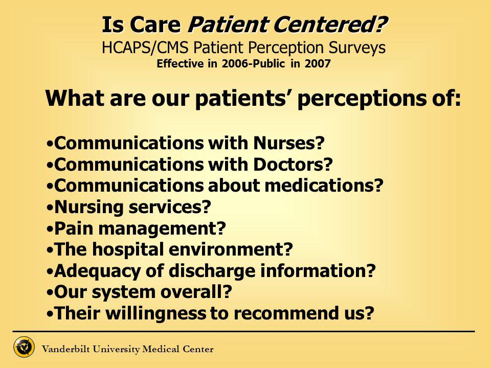 Vanderbilt University Medical Center Is Care Patient Centered? HCAPS/CMS Patient Perception Surveys Effective in 2006-Public in 2007 What are our pati