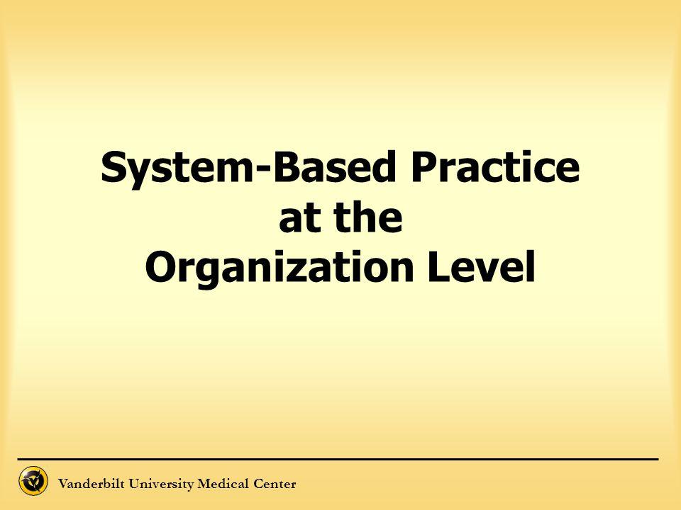 Vanderbilt University Medical Center System-Based Practice at the Organization Level