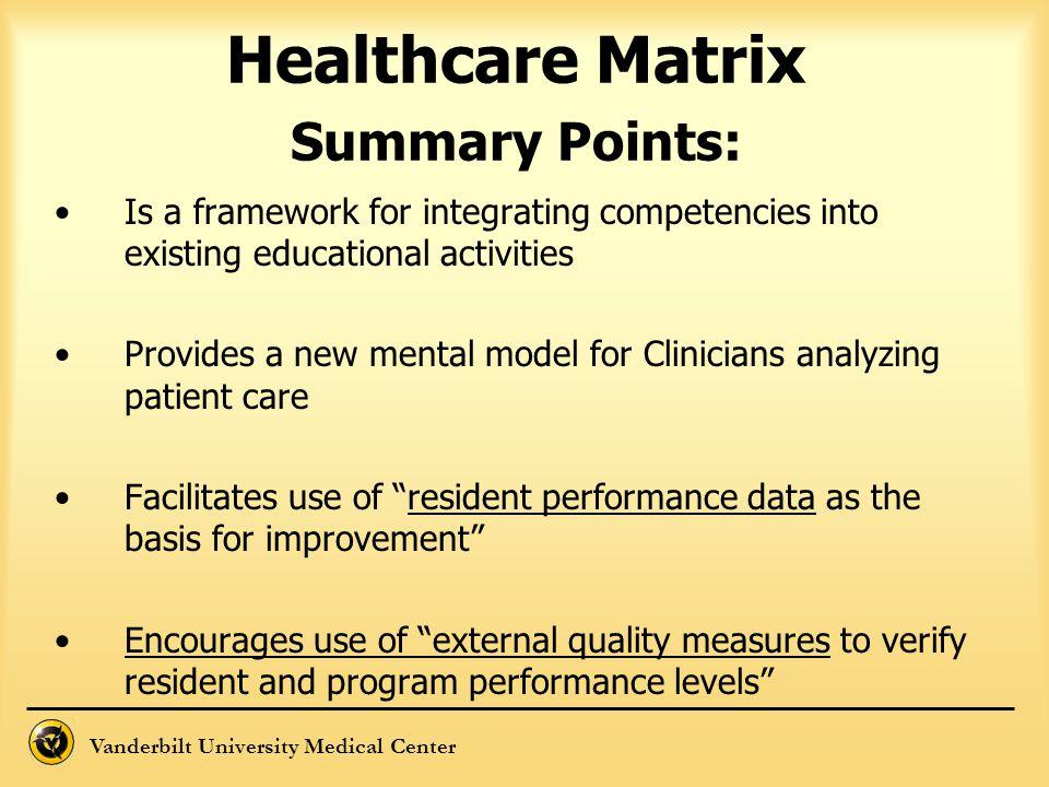 Vanderbilt University Medical Center Healthcare Matrix Summary Points: Is a framework for integrating competencies into existing educational activitie