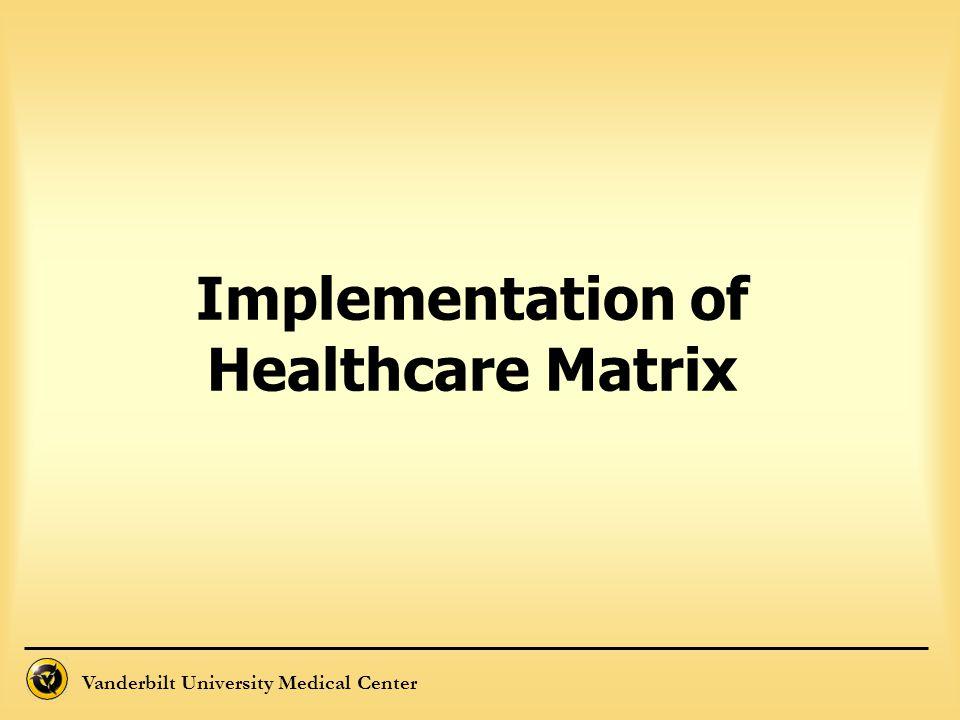 Vanderbilt University Medical Center Implementation of Healthcare Matrix