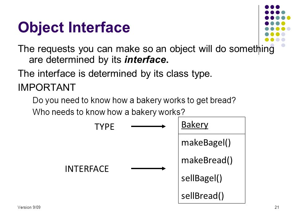 Version 9/0921 Object Interface The requests you can make so an object will do something are determined by its interface.