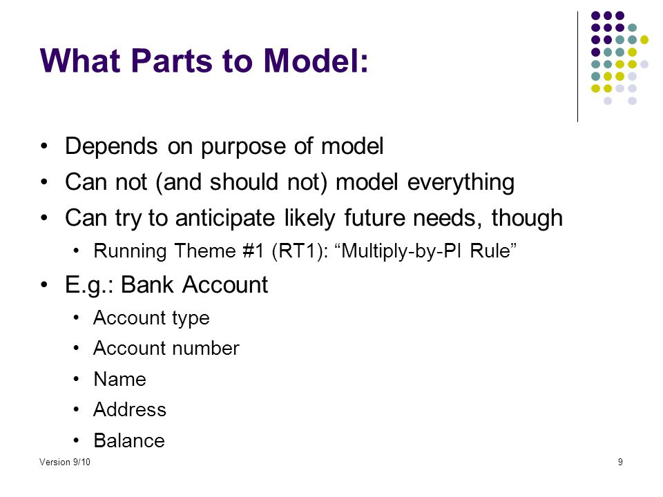 What Parts to Model: Depends on purpose of model Can not (and should not) model everything Can try to anticipate likely future needs, though Running Theme #1 (RT1): Multiply-by-PI Rule E.g.: Bank Account Account type Account number Name Address Balance Version 9/109